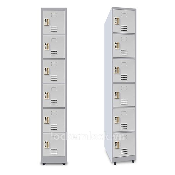 Tủ locker sắt NS6 - 6 cửa 1 cột - màu xám